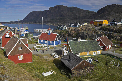 Old town and harbor, Sisimiut (Holsteinsborg), West Greenland