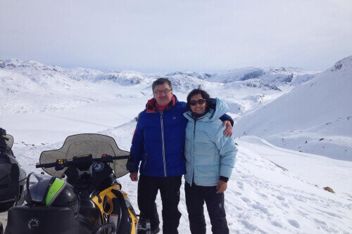 Simon and his father Frederik Lynge in Greenland