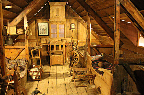 Badstofa birch wood accommodation (turf, peat house) at the National Museum of Iceland in Reykjavik