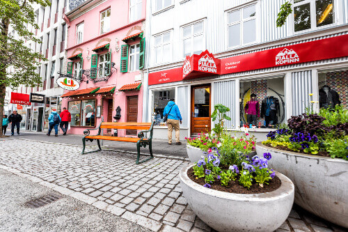 Fjalla Kofinn outdoor centre shop and store in the downtown capital city of Reykjavik at Laugavegur street in Iceland