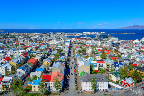 Panoramic view of downtown Reykjavik the capital city of Iceland
