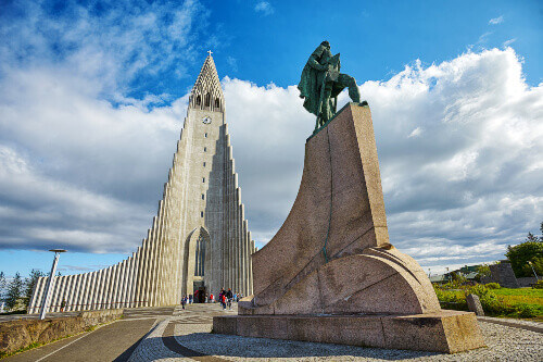The Church of Hallgrimur and monument of Leif Ericsson in Reykjavik Iceland