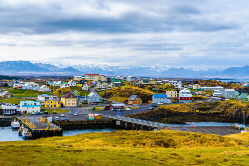 The beautiful village of Stykkishólmur in northwestern Iceland