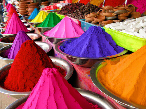 Bowls of colored dyes for Holi Festival in India
