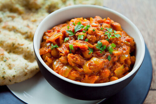 Chana Masala with Naan Bread is an Indian cuisine