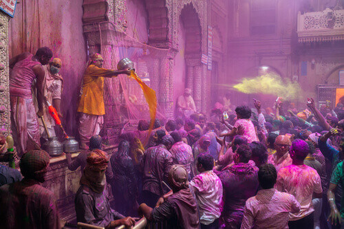 Holi celebration in the Hindu Banke Bihare temple in Vrindavan Uttar Pradesh India