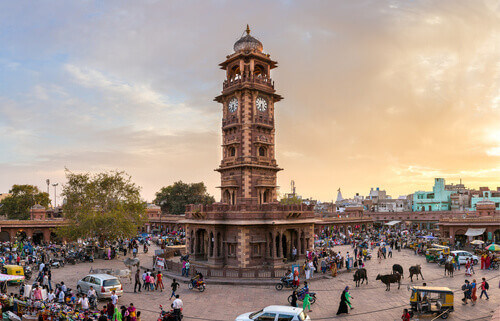 Famous victorian Clock Tower in Jodhpur Rajasthan India