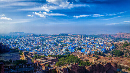 Panorama of Jodhpur, also known as Blue City due to the vivid blue-painted Brahmin houses in Jodhpur Rajasthan India