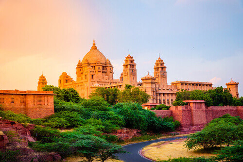 Umaid Bhawan Palace is large private residences designed by architect Henry Vaughan Lanchester in Jodhpur Rajasthan India