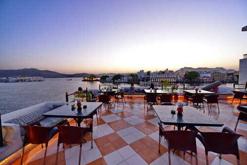 Rooftop restaurant in Udaipur India