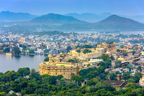 Aerial view of City Palace in Udaipur Rajasthan India