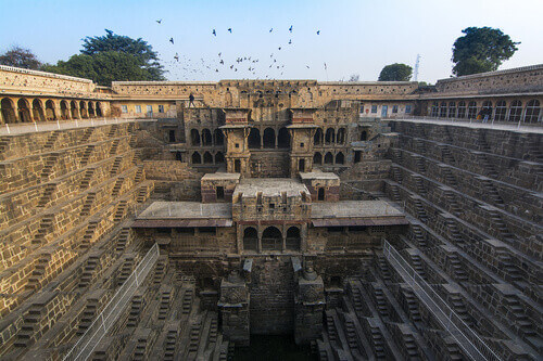 The famous Chand Baori Stepwell in the village of Abhaneri Rajasthan India