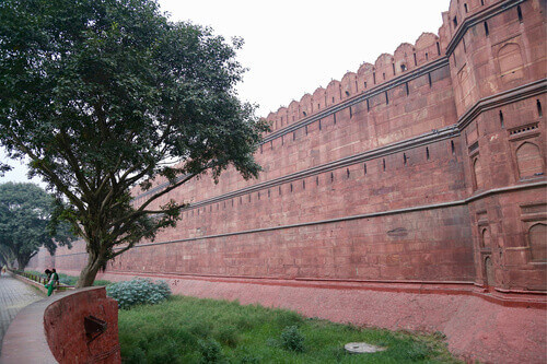 Red fort wall in Old Delhi India