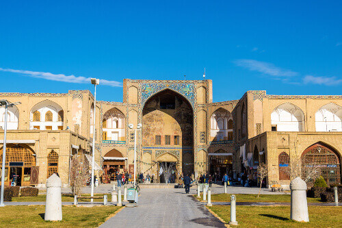 Grand Bazaar entrance in Esfahan Iran