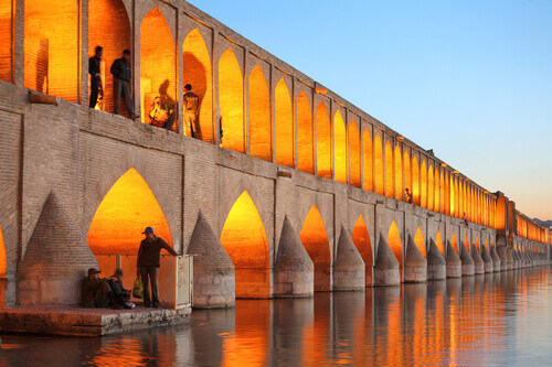 Khaju Bridge over Zayandeh River in Esfahan Iran