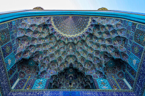 Masjed-e shah blue tiled mosaic dome in Esfahan Iran