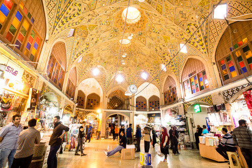 Iranian people shopping in Tehran Grand Bazaar in Tehran Iran