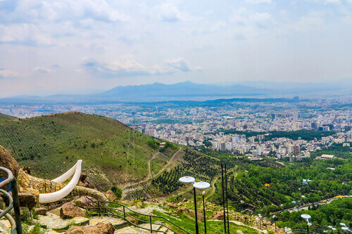Jamshidieh Park View Point Cityscape of the Whole City with Mammoth Tusk in Tehran Iran