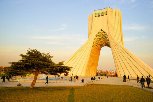 The Azadi Tower formerly known as the Shahyad Tower is a landmark monument located at Azadi Square in Tehran Iran