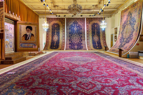 Hall of carpets and rugs in Municipality museum in Saat Tower Tabriz Municipality Palace