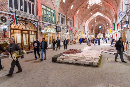 Persian carpets and rugs section in Tabriz Grand Bazaar