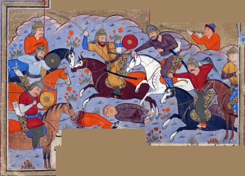 Manuchihr and his army defeat the forces of Kakvi the grandson of Zahhak Persian illustration from the Shahnameh