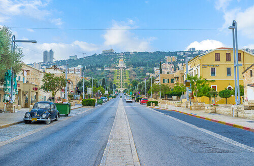 Ben Gurion Boulevard overlooking the Bahai Shrine in Haifa Israel