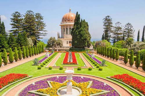 Panoramic view of the Shrine of the Bab or Bahai Shrine in Haifa Israel