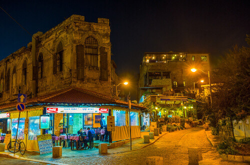 The cafe in the old Jaffa in the evening lights in Tel Aviv Israel