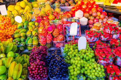 The fresh flavored colorful juicy fruits in the stall of Carmel market, Tel Aviv, Israel