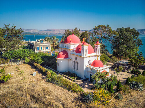 Capernaum church shot with drone from highest point in Tiberias, Israel