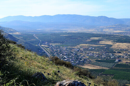 Hiking Jesus trail with the view of Mt. Arbel in countryside of Galilee, Sea of Galilee, Israel