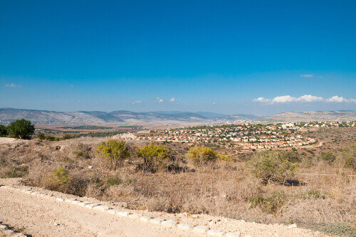 Vew of the Jesus Trail, with Cana and Beit Rimon in the background, at Zippori Archaeological National Park, Galilee Israel