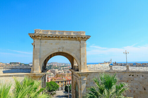 Saint Remy bastion under a blue sky in Cagliari Italy