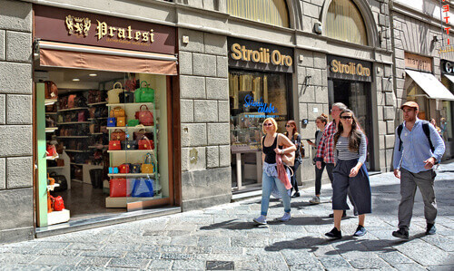 Shopping exterior of Pratesi a genuine leather handbags and accessories store with an original design in Florence Italy