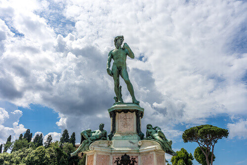 The statue of Michelangelo David at Piazzale Michelangelo or Michelangelo Square in Florence Italy