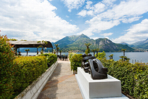 View of the summer terrace of Grand Hotel Villa Serbelloni at spring time in Bellagio Lake Como Italy