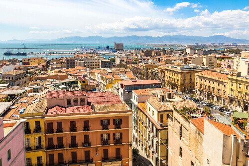 Birds eye view of Cagliari. Cagliari is the capital and the largest city of Italian island of Sardinia located in Sardinia Italy