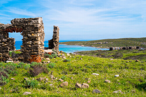 Landscape with ancient cobbled stone fortress in Asinara island in Sardinia Italy