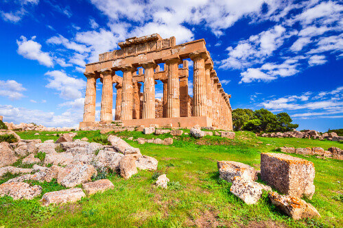 Temple of Hera is an ancient Greek ruin and is a sample of doric architecture in Selinunte Sicily Italy