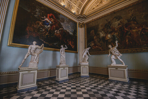 Inside Uffizi Gallery Museum in Florence Italy