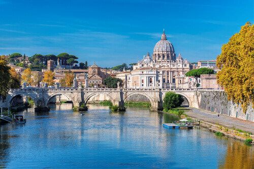 Rome Skyline with Vatican St Peters Basilica at sunny autumn day in Rome Italy