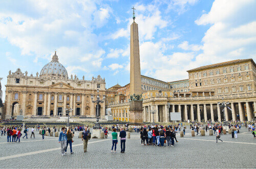 Tourists at Saint Peters Square in Vatican City Vatican