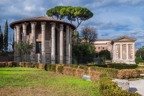 Ancient roman temples of Hercules Victor and Portunus in Forum Boarium square in the historic center of Rome Italy