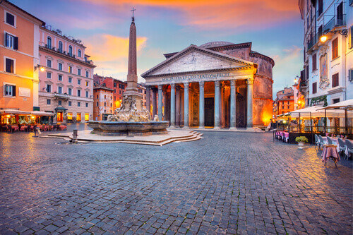 Cityscape image of Rome with Pantheon during beautiful sunset in Rome Italy