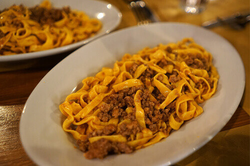 Tagliatelle Al Ragu a Bolognese pasta with rich mince ragu and other seasonings in Bologna Italy