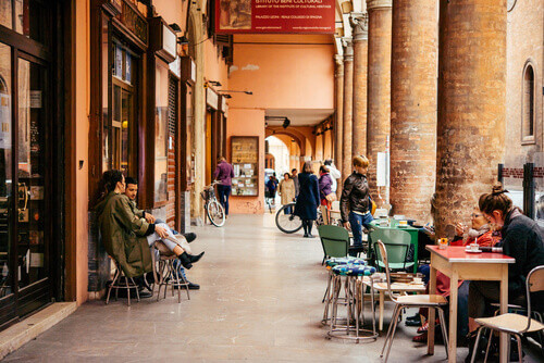View of the street in the old city of Bologna Emilia Romagna region in Rome Italy