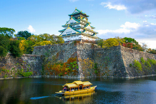 Boat ride around the Osaka Castle in Osaka Japan
