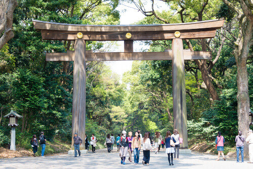 Visitors at Meiji Jingu. It is the Shinto shrine dedicated to the divine souls of Emperor Meiji and his wife in Tokyo Japan