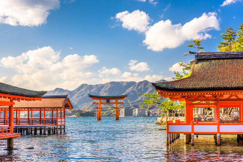Overlooking the floating torii gate or floating shrine in Miyajima, Hiroshima, Japan